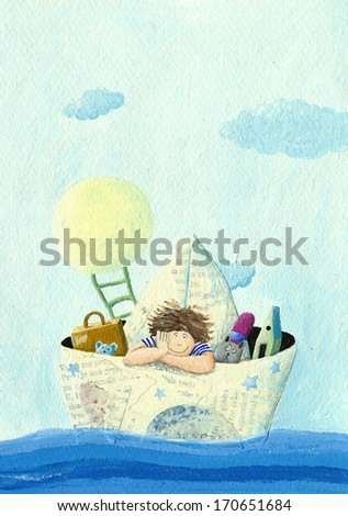 Acrylic illustration of little boy sailing in a paper boat - stock photo