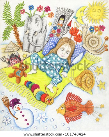 Acrylic illustration of little cute girl dreaming - stock photo