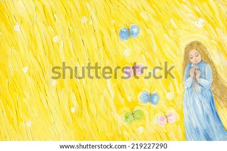 Acrylic illustration of little girl holding bird - stock photo