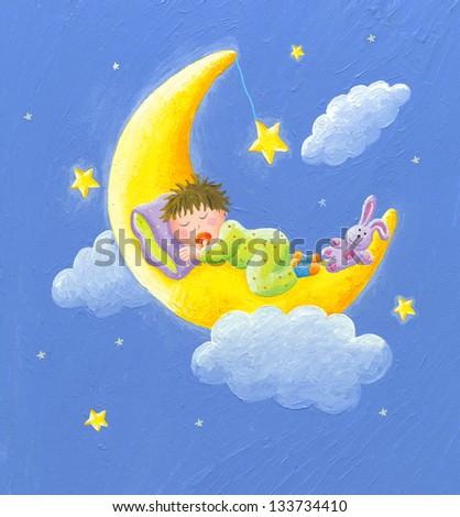 Acrylic illustration of lullaby - baby sleeps on the moon - stock photo