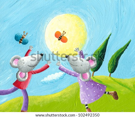 Acrylic illustration of mice in love running in the meadow - stock photo
