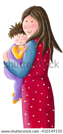 Acrylic illustration of mother holding and hugging her cute baby - artistic content