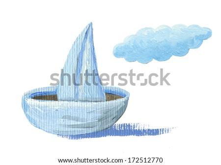 Acrylic illustration of paper sailboat - stock photo