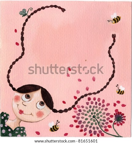 Acrylic Illustration of pink background with beautiful little girl - stock photo