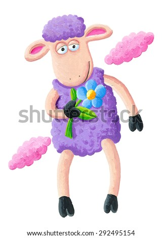 Acrylic illustration of purple sheep with flower - artistic content - stock photo