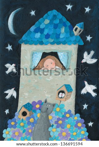 Acrylic illustration of romantic house in the night - stock photo