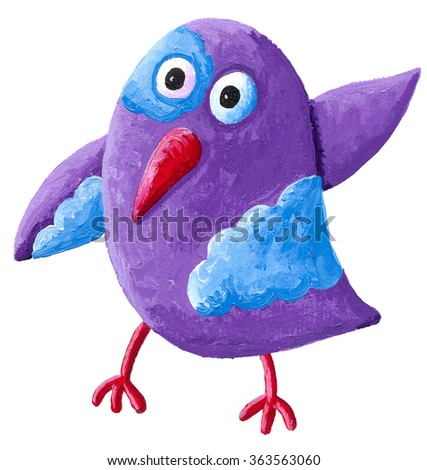 Acrylic illustration of runny purple birds with clouds - artistic content - stock photo