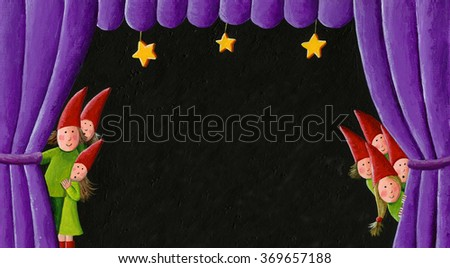 Acrylic illustration of seven kids peering out from between the curtains on stage as waits for a play to begin - artistic content - stock photo
