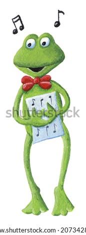 Acrylic illustration of singing frog - stock photo