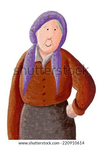 Acrylic illustration of smiling granny - stock photo