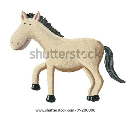 acrylic illustration of the cute horse - stock photo