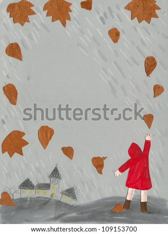 Acrylic illustration of the Fall and little girl in a raincoat - stock photo