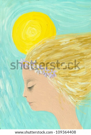 Acrylic illustration of the girl in a wreath of purple flowers - stock photo