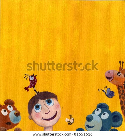Acrylic Illustration of yellow background with funny boy and animals - stock photo
