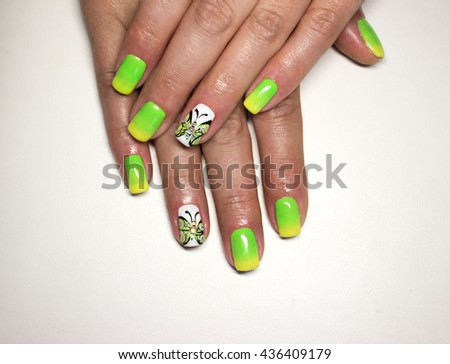 Acrylic Nails With Threads In The Style Of A French Manicure Yellow Roses