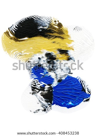 Acrylic painted design element,blue and gold colors - stock photo
