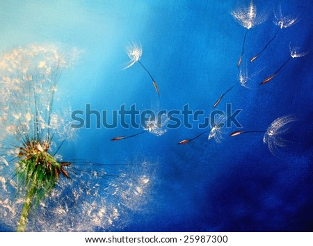 Acrylic painted scene with a single dandelion flower against blue background. Art created by photographer - stock photo