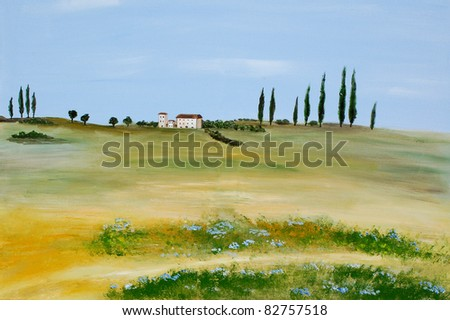 Acrylic painting of a tuscan landscape by a private artist - stock photo