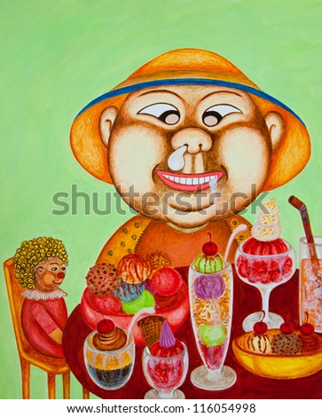 Acrylic painting. The picture is created and painted by the photographer. - stock photo