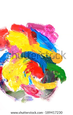 acrylic paints, gouache. Modern painting. Colorful rainbow palette. Avant-garde art. Reminiscent of graffiti. Contemporary art. Stains, spray paint. Colorful streaks - stock photo