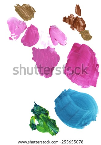 Acrylic paints in pink, blue, green and brown, on white paper palette.