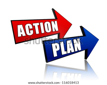 action and plan - words in 3d colorful arrows with text