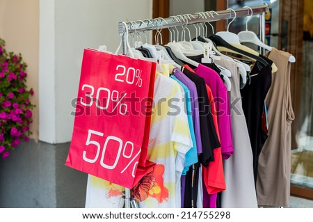 action at end of season in a textile shop - stock photo