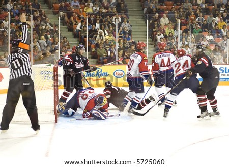 Action between the Halifax Mooseheads and Moncton Wildcats, September 22, 2007