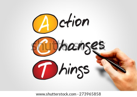 Action Changes Things (ACT), business concept acronym - stock photo