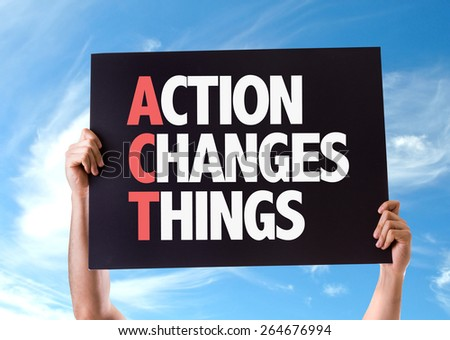 Action Changes Things card with sky background - stock photo