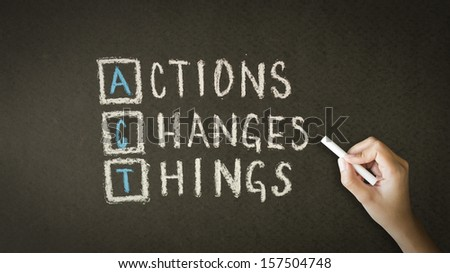 Action Changes Things Chalk Drawing - stock photo