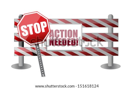action needed barrier illustration design over a white background