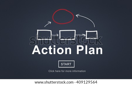 Action Plan Planning Strategy Vision Tactics Objective Concept - stock photo