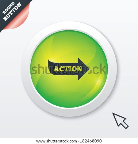 Action sign icon. Motivation button with arrow. Green shiny button. Modern UI website button with mouse cursor pointer.