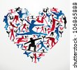 Action sports silhouettes in heart love shape. - stock vector