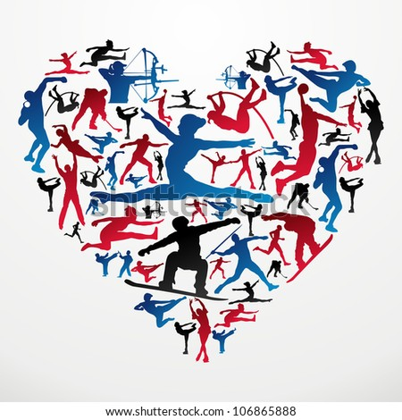 Action sports silhouettes in heart love shape. - stock photo