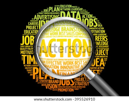 ACTION word cloud with magnifying glass, business concept