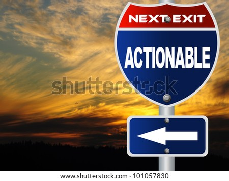 Actionable road sign - stock photo