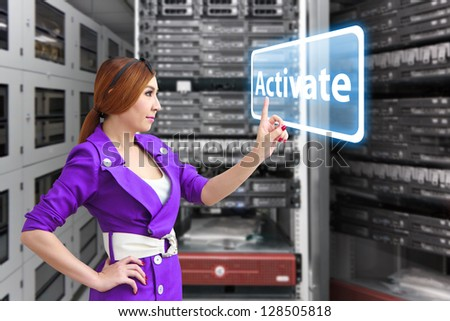 Activate button in server room - stock photo
