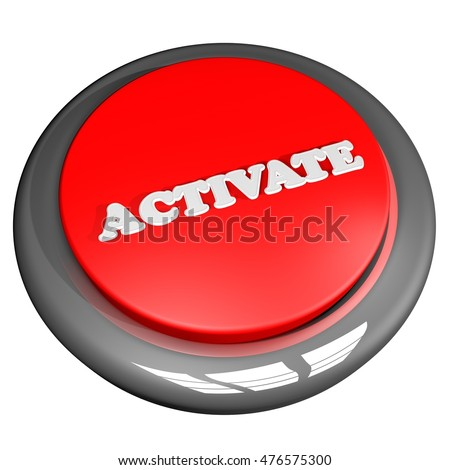 Activate button isolated over white, 3D rendering