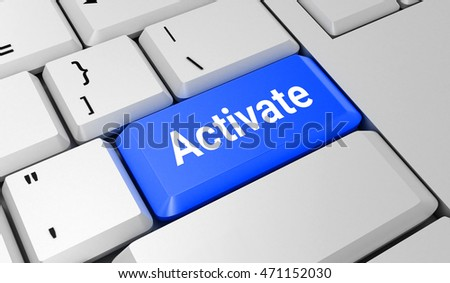 Activate button. Keyboard. Blue key. Blue button. 3D rendering