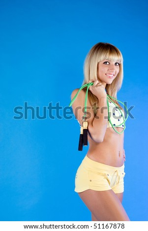 Active blonde on a blue background