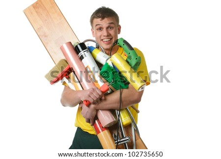 active builder with construction materials and instruments - stock photo