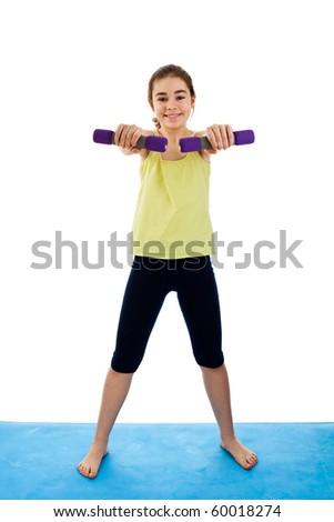 Active girl exercising isolated on white background - stock photo