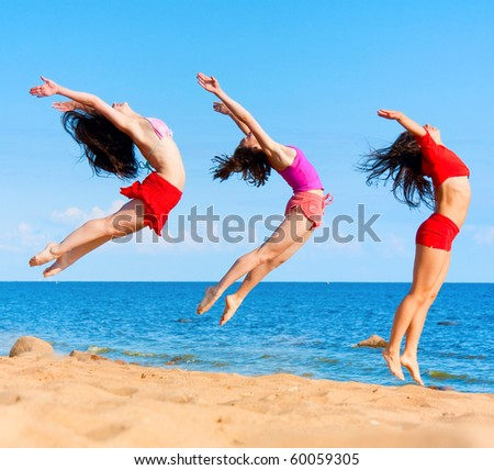 active girls group - stock photo