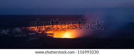 Active Halema'uma'u crater in the Kilauea caldera at Volcanoes National Park, Big Island of Hawaii. - stock photo