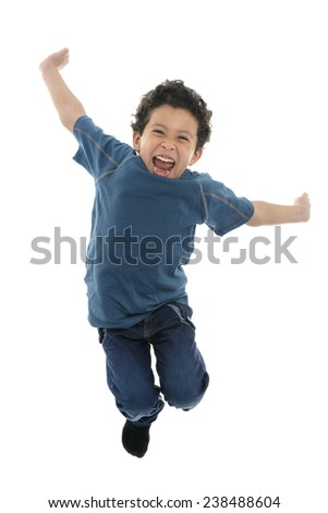 Active Happy Boy Jumping with Energy Isolated on White Background - stock photo