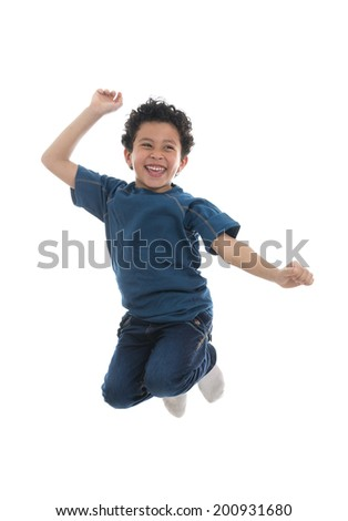 Active Happy Boy Jumping with Joy Isolated on White Background - stock photo
