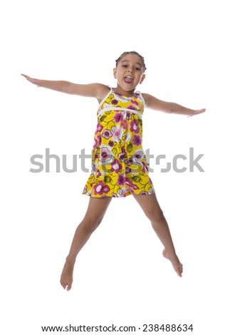 Active Happy Girl Jumping with Arms Open Isolated on White Background - stock photo