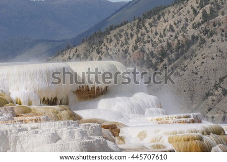 Active Hot Spring, Mammoth Hot Springs terraces, Yellowstone - stock photo